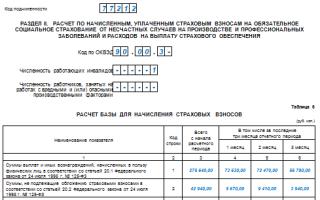 4 ФСС таблица 6 как заполнить