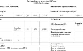 Расчетный листок по зарплате расшифровка