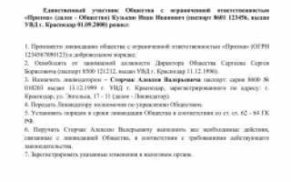 Образец решения единственного участника о ликвидации ООО