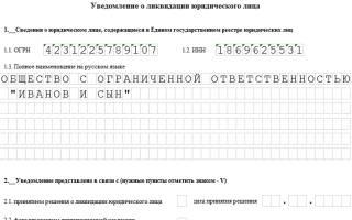 Заявление о ликвидации ООО по форме р15001